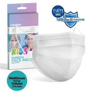 Medizer White Full Ultrasonic Surgical CHILD Mask 3 Layers MELTBLOWN Fabric 10 Boxes of 10 - Nose Wire