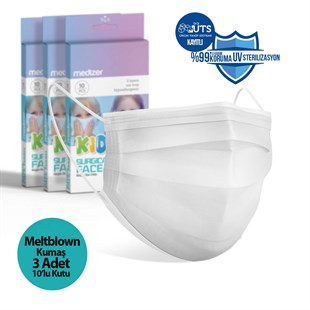 Medizer White Full Ultrasonic Surgical CHILD Mask 3 Layers MELTBLOWN Fabric 3 Boxes of 10 - Nose Wire