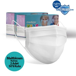 Medizer White Full Ultrasonic Surgical CHILD Mask 3 Layers MELTBLOWN Fabric 100 pieces - Nose Wires