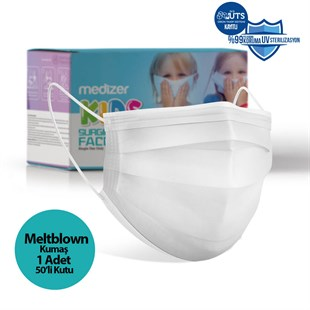 Medizer White Full Ultrasonic Surgical CHILD Mask 3 Layers MELTBLOWN Fabric 50 pieces - Nose Wires