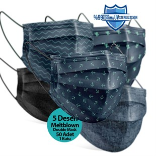 Medizer Man Series 2 Meltblown Fabric 3 Layers Ultrasonic Surgical Mouth Mask 5 Patterns - Nose Wire 50 Pieces